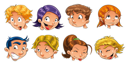 enchanted: Expressions of children. Cartoon and vector characters