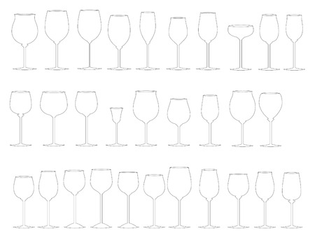 Glasses of wine. Cartoon and vector illustration Vector