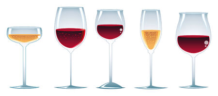 aperitif: glasses of wine. Cartoon and vector illustration