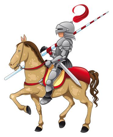 cavaliere medievale: Cavaliere e cavallo. Illustrazione di cartone animato e vettoriale