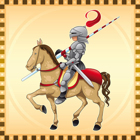 medieval banner: Knight and Horse with Background. Cartoon and vector illustration