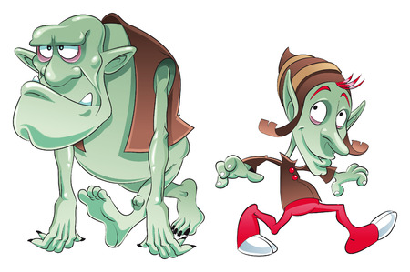 ogre: Ogre and Elf. Cartoon and vector characters