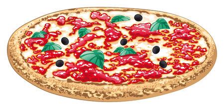 Pizza, cibo italiano. Oggetto di cartone animato e vettoriale