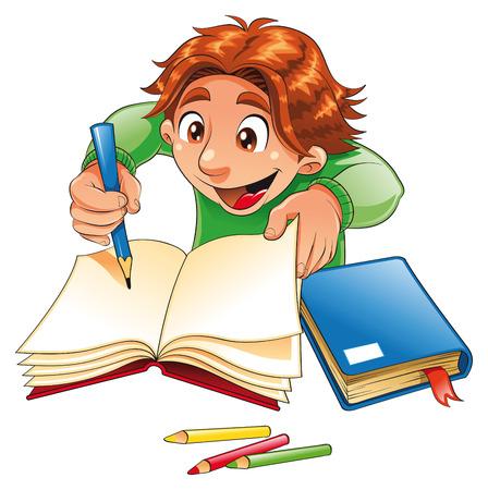 novice: Boy writing and drawing. Cartoon and vector character