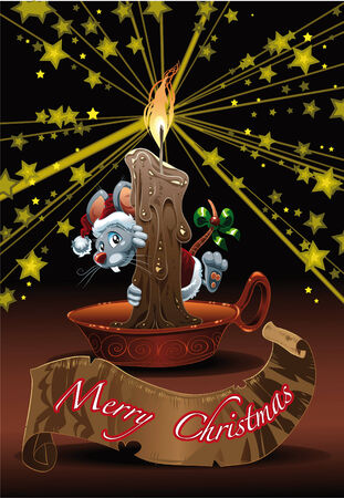 Little Mouse for Christmas. Cartoon and vector illustration Vector