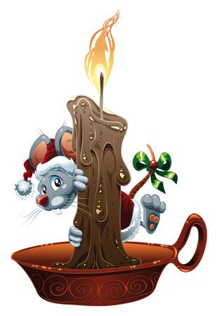 velas de navidad: Ratón poco para la Navidad. Ilustración de dibujos animados y vector Vectores