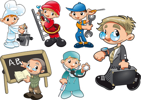 Types of Worker. Cartoon and vector characters Vector