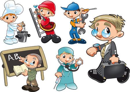 Tipos de trabajadores. Personajes de dibujos animados y vector de
