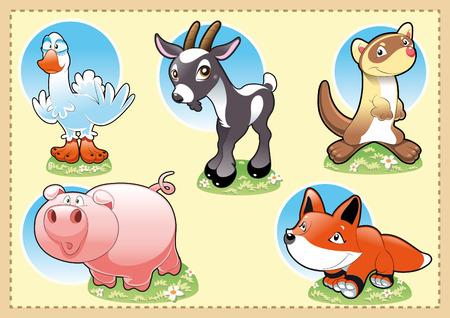 Farm Baby Animals. Cartoon and vector illustration