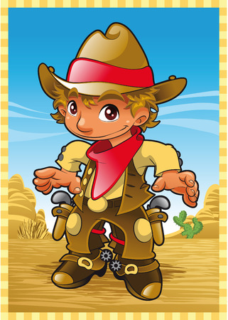 american stories: Little Cow Boy. Cartoon and vector illustration