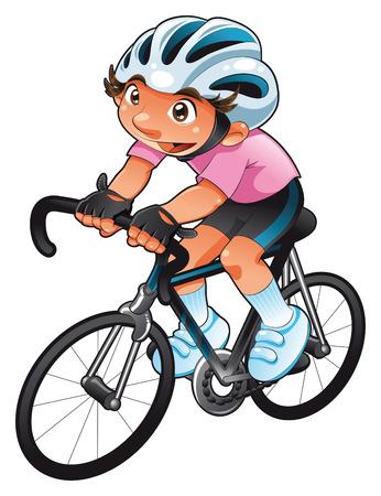 ciclista: Ciclista de beb�. Personaje de dibujos animados y vector