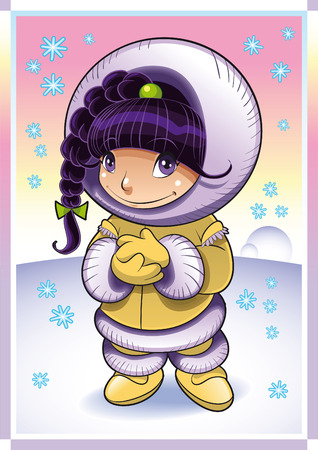 Baby Eskimo. Cartoon and vector illustration Stock Vector - 5600120