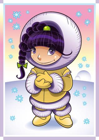 esquimal: Beb� esquimal. Ilustraci�n de dibujos animados y vector