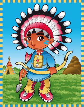 Baby Boy indio. Dibujos animados e ilustración vectorial Vectores