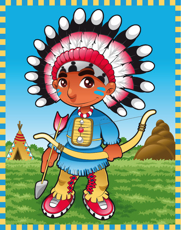 Baby Indian Boy. Cartoon and vector illustration