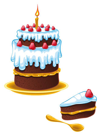 omens: Cake Birthday. Cartoon and vector illustration