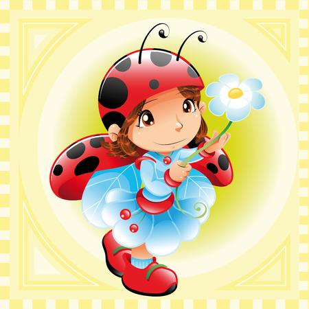 Funny Girl-Ladybug. Cartoon and vector character