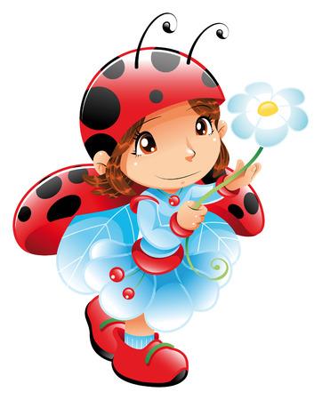 marguerite: Funny Girl-Ladybug. Personnage de dessin animé et vecteur