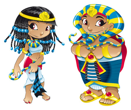Cleopatra and Pharaoh. Cartoon and vector characters Stock Vector - 5600121