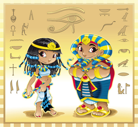 Faraón y Cleopatra con fondo. Ilustración de dibujos animados y vector