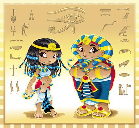 Faraone e Cleopatra con sfondo. Illustrazione di cartone animato e vettoriale