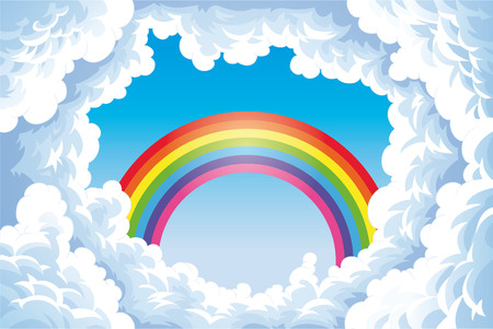 Rainbow in the sky with clouds. Cartoon and vector illustration
