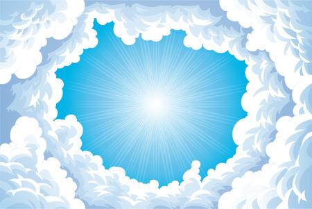 divinit�: Soleil dans le ciel avec des nuages. Illustration de dessin anim� et vecteur