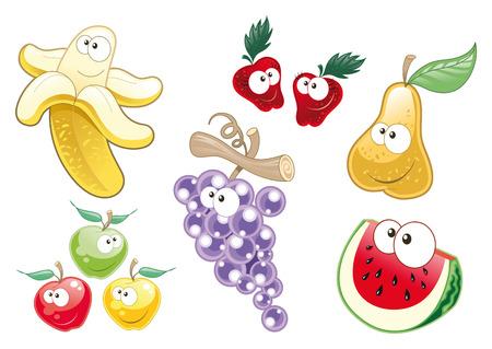 Caractères de fruits. Objets de dessin animé et vectoriels.