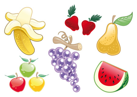 Lot of Fruit. Cartoon and vector objects  イラスト・ベクター素材