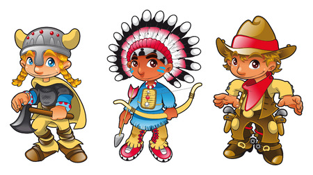 cartoon land: Historical characters, Boys. Cartoon and vector illustration