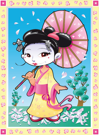 Geisha, cartoon and vector illustration Vector
