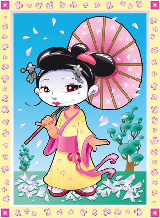 chinese dress: Geisha, cartoon and vector illustration Illustration