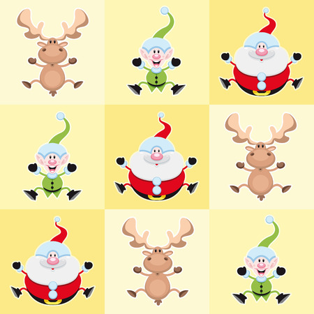 Christmas cartoon characters in a yellow square. Vector