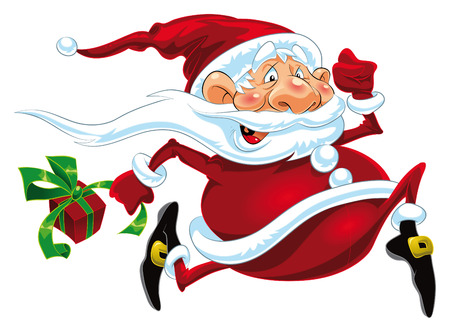 santaclaus: Santa Claus is Running. Cartoon and vector character