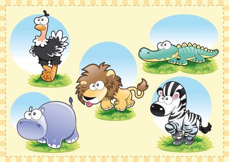 savanna: Animal Family. Cartoon and vector illustration