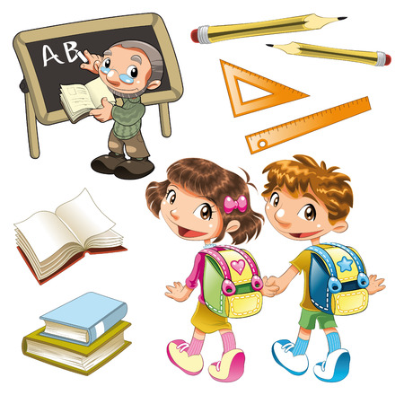novice: School elements. Cartoon and vector objects