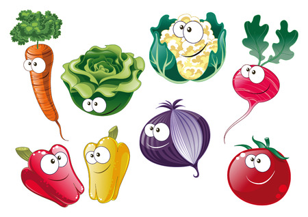Vegetables, cartoon and vector characters