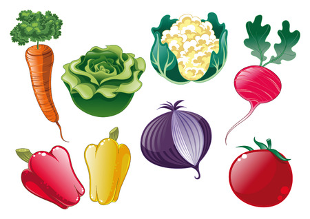 Vegetables, cartoon and vector objects