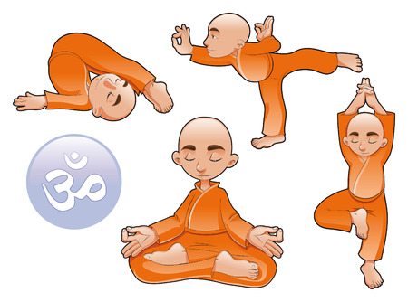 Positions de yoga, de bandes dessin�es et d'illustration vectorielle Banque d'images - 5609792