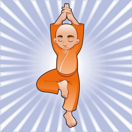 monjes: Ilustraci�n de �rbol, la caricatura y el vector de yoga Vectores