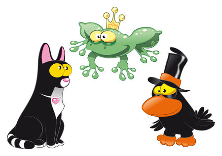 Halloween Animals. Cartoon and vector characters. Vector