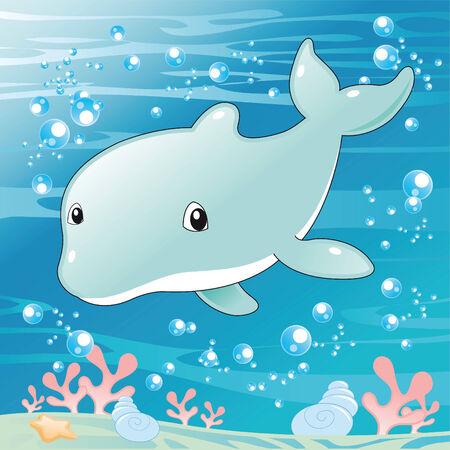 Baby Dolphin. Cartoon and vector illustration. Vector