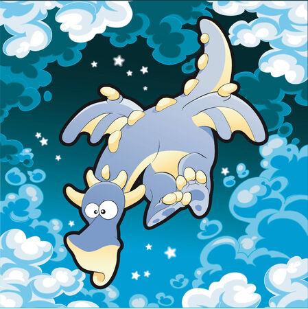 Baby Dragon. Cartoon and vector illustration. Stock Vector - 5609834