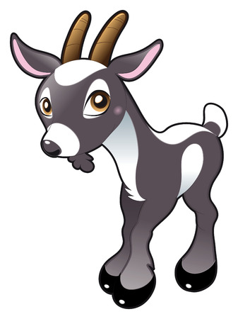 Baby Goat. Cartoon and vector character. Vector