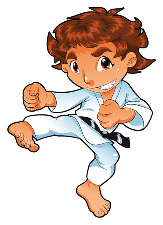 quickness: Baby Karate Player. Cartoon and vector character.
