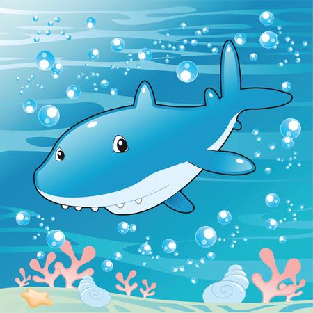 tiburon caricatura: Shark de beb�. Ilustraci�n de dibujos animados y vector.