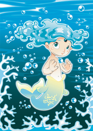 mythological character: Baby Siren. Cartoon and vector illustration. Illustration