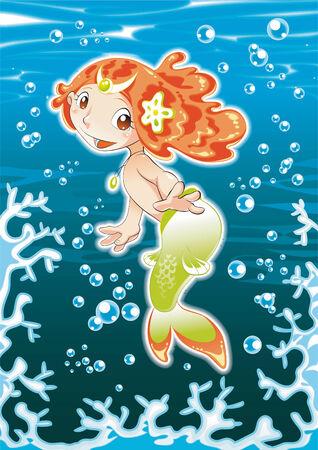 Baby Siren. Cartoon and vector illustration. Vector