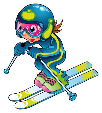 赤ちゃんのスキーヤー。漫画とベクトル文字。