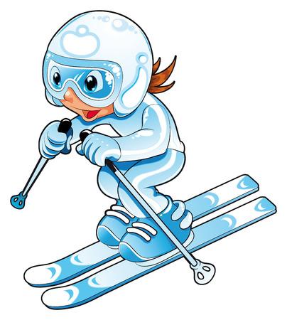 skieer: Skier baby. Strip verhaal en vector teken.